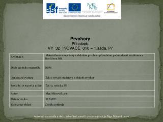 Prvohory Přírodopis VY_32_INOVACE_010  – 1.sada,  Př