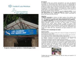 Projecte d'educació sanitària a Vedanthangal, Índia