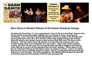 Barn Dance & Dessert Potluck at the Swauk-Teanaway Grange