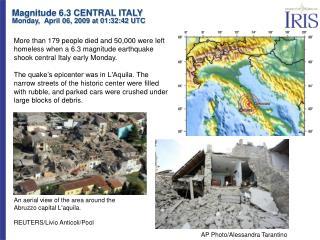 An aerial view of the area around the Abruzzo capital L'aquila. REUTERS/Livio Anticoli/Pool