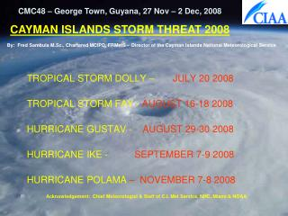 TROPICAL STORM DOLLY –        JULY 20 2008 TROPICAL STORM FAY -  AUGUST 16-18 2008