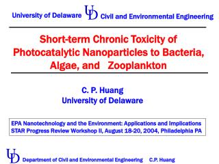 Short-term Chronic Toxicity of Photocatalytic Nanoparticles to Bacteria, Algae, and   Zooplankton