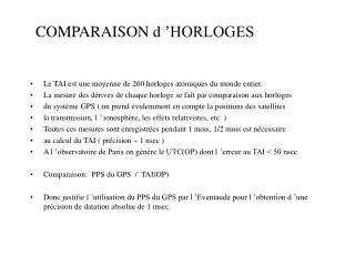 COMPARAISON d'HORLOGES