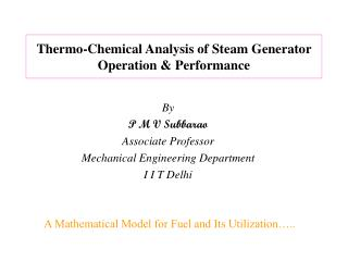Thermo-Chemical Analysis of Steam Generator Operation  Performance