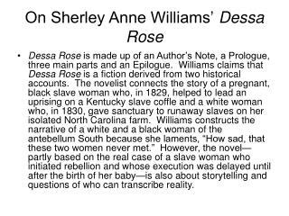 On Sherley Anne Williams'  Dessa Rose