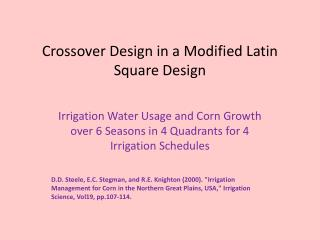 Crossover Design in a Modified Latin Square Design