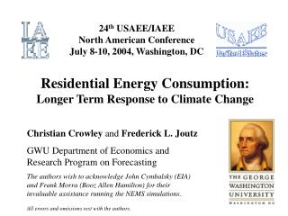 Residential Energy Consumption: Longer Term Response to Climate Change