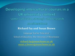 Richard Fay and Susan Brown  Language Teacher Education