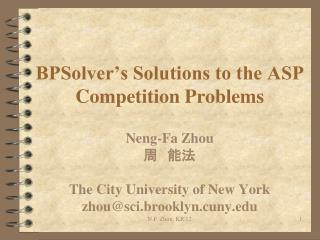 BPSolver�s Solutions to the ASP Competition Problems