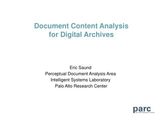 Document Content Analysis for Digital Archives