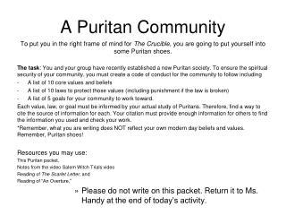 A Puritan Community