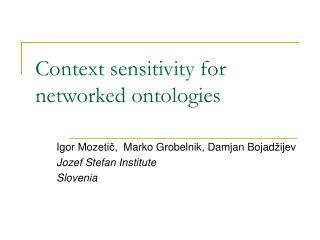 Context sensitivity for networked ontologies