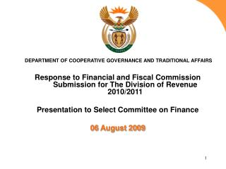 Response to Financial and Fiscal Commission Submission for The Division of Revenue 2010/2011