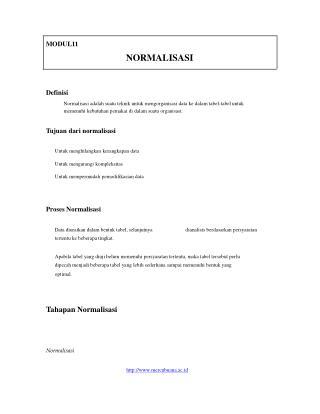 MODUL11 NORMALISASI Definisi