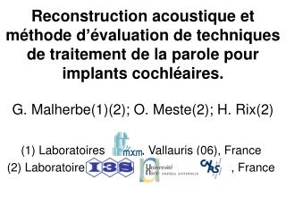 (1) Laboratoires           , Vallauris (06), France