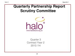Quarterly Partnership Report Scrutiny Committee
