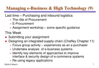 Managing e-Business & High Technology (9)