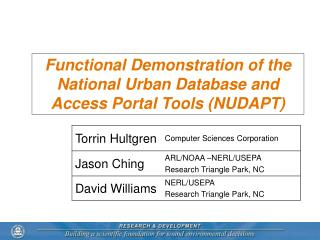 Functional Demonstration of the National Urban Database and Access Portal Tools (NUDAPT)