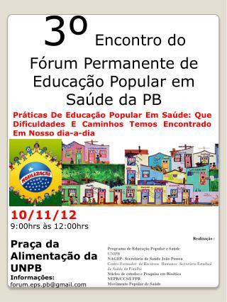 3º  Encontro do Fórum Permanente de Educação Popular em Saúde da PB