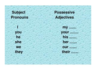 Subject                            Possessive      Pronouns                          Adjectives