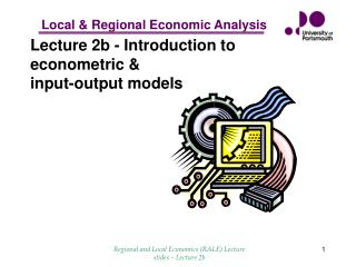 Lecture 2b - Introduction to econometric   input-output models