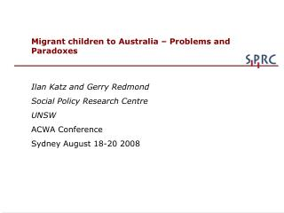 Migrant children to Australia – Problems and Paradoxes