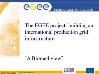 "The EGEE project: building an international production grid infrastructure "" A Biomed view """