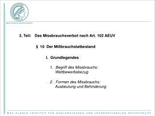 3. Teil: Das Missbrauchsverbot nach Art. 102 AEUV