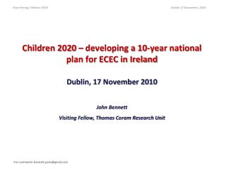 Children 2020 – developing a 10-year national plan for ECEC in Ireland