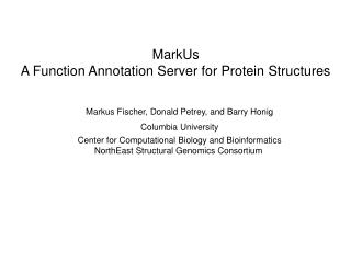 MarkUs A Function Annotation Server for Protein Structures