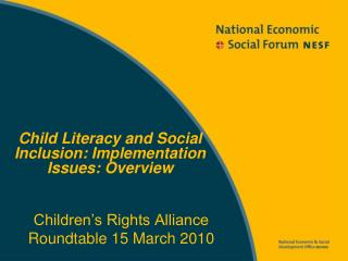 Children's Rights Alliance Roundtable 15 March 2010