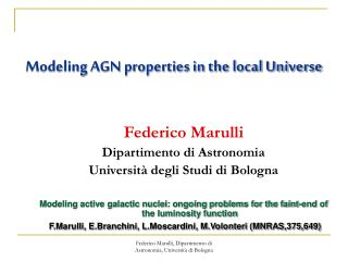 Modeling AGN properties in the local Universe