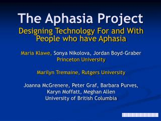 The Aphasia Project