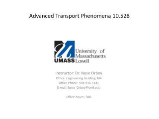 Advanced Transport Phenomena 10.528