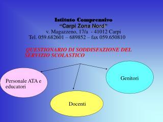 QUESTIONARIO DI SODDISFAZIONE DEL SERVIZIO SCOLASTICO