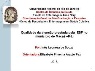 Universidade Federal do Rio de Janeiro Centro de Ciências da Saúde Escola de Enfermagem Anna Nery