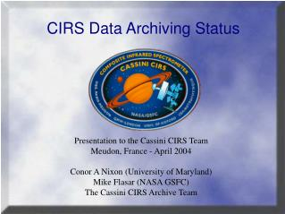 CIRS Data Archiving Status