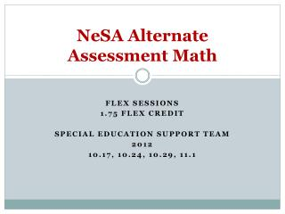 NeSA Alternate Assessment Math
