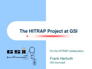 The HITRAP Project at GSI