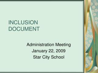 INCLUSION  DOCUMENT