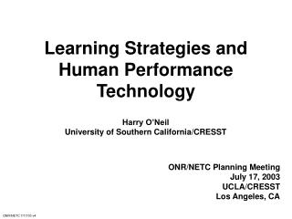 Learning Strategies and Human Performance Technology