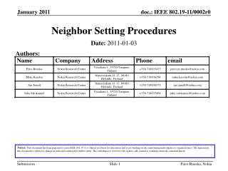 Neighbor Setting Procedures