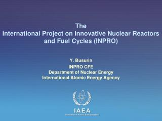 The  International Project on Innovative Nuclear Reactors and Fuel Cycles (INPRO)
