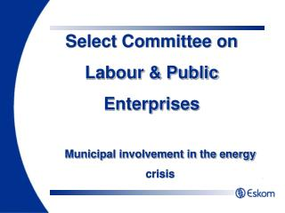 Municipal involvement in the energy crisis