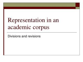 Representation in an academic corpus