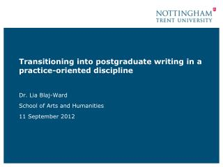 Transitioning into postgraduate writing in a practice-oriented discipline