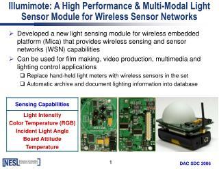 Illumimote: A High Performance & Multi-Modal Light Sensor Module for Wireless Sensor Networks