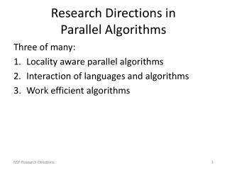 Research Directions in  Parallel Algorithms