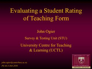 Evaluating a Student Rating of Teaching Form