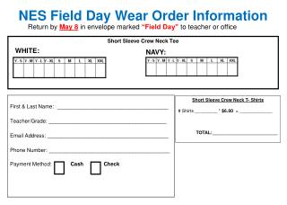 NES Field Day Wear Order Information
